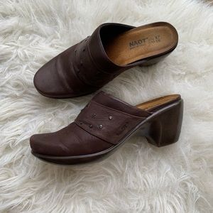 finest selection 696f6 d5245 Naot | Eden studded brown leather clogs size 6